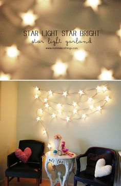 A Crafty Arab: 99 Creative Star Projects. Star Light Star Bright Light Garland So as I mentioned in my Craft Envy post about pretty twinkle lights, Ive been longing for the soft glow of string lights since I reluct. Star Garland, Light Garland, Diy Garland, Bright Stars, Bright Lights, Merry And Bright, Twinkle Lights, String Lights, Light String