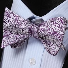 Spring Collection - Purple Paisley Floral 100%Silk Classic Butterfly Self Bow Tie - $20.99