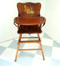 Vintage Painted 1950s High Chair Jenny LIND Spindle Style Baby