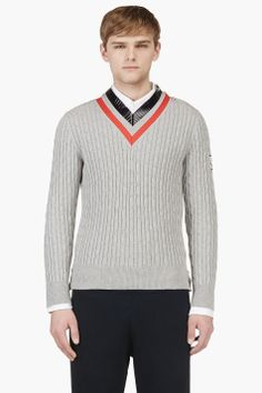 MONCLER GAMME BLEU Grey Striped V-Neck Rowing Sweater