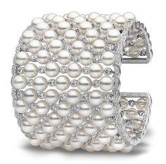 YOKO London pearl and diamond cuff bracelet