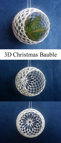 Beautiful ice cubes crochet ornaments for Christmas tree - Salvabranicrochet patterns in thread - SalvabraniCrochet Christmas Baubles Source by Crochet a beautiful and rather simple Christmas bell to adore your Christmas Tree or use as holiday giftsV Diy Christmas Baubles, Crochet Christmas Wreath, Crochet Christmas Decorations, Christmas Crochet Patterns, Holiday Crochet, Crochet Snowflakes, Diy Christmas Tree, Crochet Gifts, Handmade Christmas