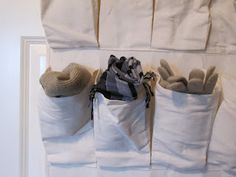 Put scarves, mittens, and hats in a shoe organizer