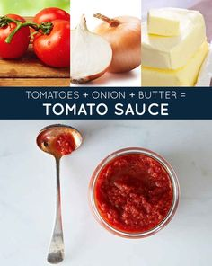 tomatoes + onion + butter = perfect tomato sauce