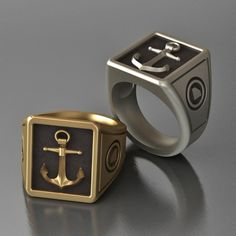 Mens Anchor Ring. $340.00, via Etsy.