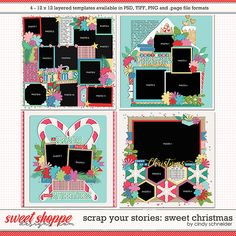 Cindy's Layered Templates - Scrap Your Stories: Sweet Christmas by Cindy Schneider Scrapbook Templates, Scrapbook Page Layouts, Scrapbook Pages, Photo Drop, Photo Arrangement, Layout Template, Christmas Themes, Favorite Holiday, Digital Scrapbooking