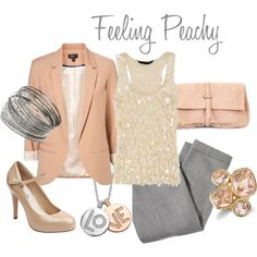 Peach and Grey Outfits | peach jacket. glitter top. gray pants.