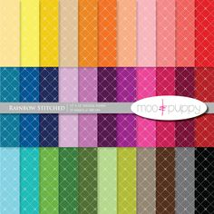 Digital Scrapbook Paper Pack  --  Rainbow Stitched -- 12x12 and 8.5x11 -- INSTANT DOWNLOAD.