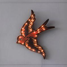 Unusual vintage tattoo style sailor swallow bird wall light