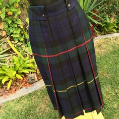 Vintage Italian Fiocchi Wool Plaid Skirt/Kilt Blue and Green Shades Size 8 by PippiLime on Etsy