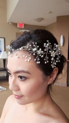 Bridal Wedding Silver Faux Pearls Crystals by UnderHerVeil on Etsy