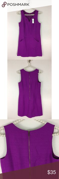 Ann Taylor / Loft Shift Dress NWT Sz 2 textured shift dress - vibrant purple, see pic for detail. Front pockets and exposed back zipper. Made of 65% Polyester 35% Rayon . Bust measured flat underarm to underarm is approximately 17inches. Length is approximately 33 inches long measured shoulder to hem. New with Tags. LOFT Dresses Mini