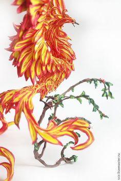 """Игрушки животные, ручной работы. Ярмарка Мастеров - ручная работа. Купить фигурка большая """"Птица Феникс на ветке (Жарптица)"""" (оживший огонь). Handmade."""