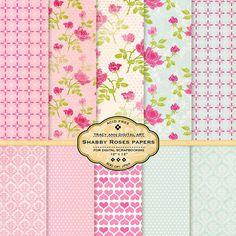 Shabby Roses Digital Paper Packs for Scrapbooking, invites, cards Pink Rose Download Printable Paper