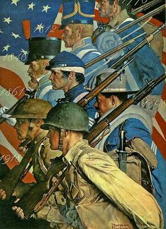 Soldiers throughout the years - this painting is by Norman Rockwell.