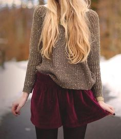 Sequin jumper and maroon skirt with black leggings
