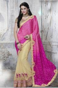 Satin and Net Designer Saree In  Colour