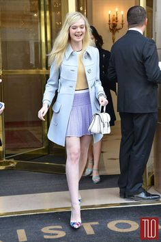 From the colours to the prints to the styling, this whole look is pretty fabulous. > Elle Fanning - Miu Miu Paris