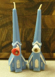 Vintage Christmas Candle ~ Gurley Blue Church Candles