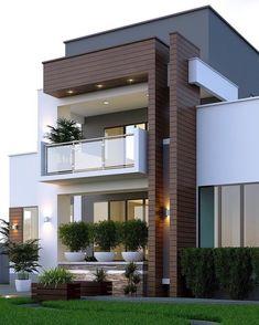 Best Modern House Design, Modern Villa Design, Modern Exterior House Designs, Small Modern Home, Modern Tiny House, Minimalist House Design, Dream House Exterior, Modern House Plans, Exterior Design