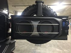 "Audio Toyz - Rancho Santa Margarita, CA, United States. 2015 Jeep Wrangler Rubicon  custom 2 10"" alpine Type-R subwoofers with pressed grill mesh and aluminum protection rods by Audiotoyz.(AFTER)"