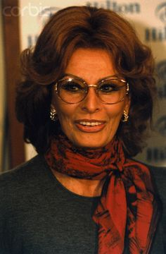 Sophia Loren Wearing Red Scarf
