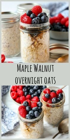 Maple Walnut Overnight Oats Overnight Oats are a healthy, delicious and easy way to have a healthy breakfast waiting for you in the morning. They're great cold, or heated in the microwave and perfect for grab and go. Breakfast On The Go, Make Ahead Breakfast, Healthy Breakfast Recipes, Brunch Recipes, Brunch Dishes, Breakfast Ideas, Drink Recipes, Healthy Recipes, Crockpot
