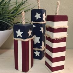 MINI Patriotic Firecrackers, Set of 3 - Wood Posts, Wood Blocks, Red White and Blue, 4th of July Decor, Independence Day Decor