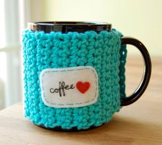 Customizable Mug Cozy - Crocheted Tea Cup Cosy - Made to Order. $17.00, via Etsy.
