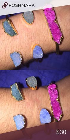 DRUZY STONE GOLD CUFF STYLE BRACELETS ALL BRAND NEW, NEVER WORN!!!  CUFF STYLE BRACELETS. ALL HAVE GORGEOUS DRUZY STYLE STONES. ONE SIZE FITS ALL AS THEY ARE EACH ADJUSTABLE.   **** $13 EACH...  OR ALL 3 FOR $30 ***  If you want to buy just one, please comment which one you would like to buy and I can create a new listing for you! Jewelry Bracelets