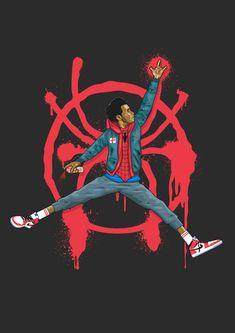 "herochan: ""Miles Morales / Jumpman Art by UCArts "" Black Spiderman, Spiderman Art, Amazing Spiderman, Dope Cartoon Art, Dope Cartoons, Jordan Logo Wallpaper, Miles Morales Spiderman, Dope Wallpapers, Basketball Art"