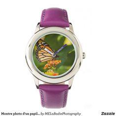 Montre photo d'un papillon Smart Watch, Watches, Leather, Accessories, Butterflies, Animaux, Jewels, Wristwatches, Smartwatch