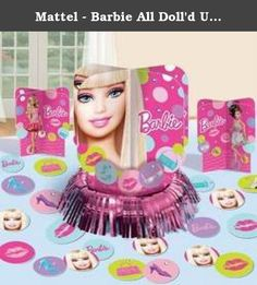 """Mattel - Barbie All Doll'd Up Table Decorating Kit. Barbie All Doll'd Up Table Decorating Kit. Includes (1) fringe centerpiece (12.5""""), (2) 3D Centerpieces (6.25""""), and (20) pieces of paper confetti. This is an officially licensed Barbie product.Weight (lbs): 0.48Dimensions: 14 x 11.5 x 0.5Color: PinkSize:."""