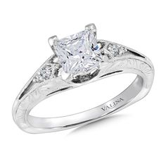 Valina - Mounting with side stones .06 ct. tw., 1 ct. Princess cut center. #R9426W -This is the one!