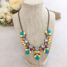 JUST IN Multicolor Flowers Statement Necklace Necklace: Antique silver tones plated Lobster clasp with extension Multicolored acrylic stones Rhinestones  NWT Jewelry Necklaces