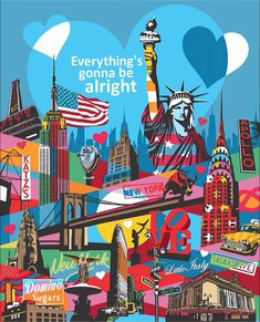 New York City - Everything's gonna be alright - quarantine art 2020 Art And Illustration, Illustrations And Posters, Graphic Design Illustration, Pop Art Wallpaper, Minimalist Drawing, The Other Art Fair, Arte Pop, Keith Haring, Art Techniques