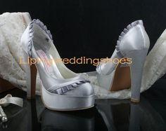 round head high heels modest satin silver wedding shoes