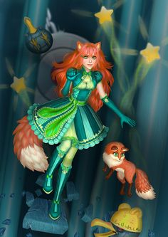 Anime redhair girl Karri and her little cute fox from our game.