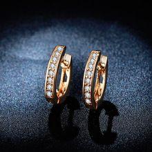 18K Rose Gold Plated Hoop Earrings for women AAA CZ diamond ...