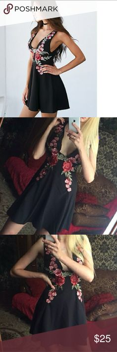 🥀🌹Floral embroidery Dress🌹🥀 Brand new without tags.  Material: polyester, spandex & cotton Very sexy dress with a deep v-neck and decorated embroidery Not FN, listed for exposure Fashion Nova Dresses