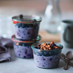 Blueberry-Chia Overnight Oats from Ellie's Real Good Food cookbook, Ellie Krieger | Key Ingredient. Note: Per serving: Calories 410; Fat 15g; Protein 15g; Carb 57g; Fiber 9g.