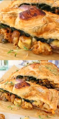 vegetarian christmas recipes Vegan puff pastry mushroom Wellington with leeks, smoked Gouda and Beyond Italian Sausage. The ultimate vegan comfort food for Sunday dinner, Thanksgiving or Christmas! Vegetarian Christmas Recipes, Vegan Christmas Dinner, Thanksgiving Recipes, Holiday Recipes, Sunday Lunch Vegetarian, Sunday Dinner Vegan, Vegetarian Pastry Recipes, Vegan Italian Sausage Recipe, Christmas Food Ideas For Dinner Meals