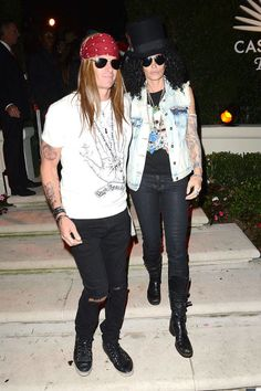 The supermodel and her husband get into the '80s groove as Slash and Axl Rose from the Guns N' Roses.