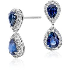 Blue Nile Pear Shape Sapphire and Diamond Halo Earrings (€3.745) ❤ liked on Polyvore featuring jewelry, earrings, sapphire earrings, blue nile, 18 karat gold earrings, pave diamond earrings and blue earrings
