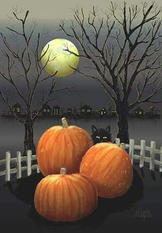 Under The Full Moon Art Print by Arline Wagner. All prints are professionally printed, packaged, and shipped within 3 - 4 business days. Choose from multiple sizes and hundreds of frame and mat options. Retro Halloween, Halloween Prints, Halloween Cards, Spooky Halloween, Holidays Halloween, Google Halloween, Happy Halloween Pictures, Halloween History, Halloween Scene
