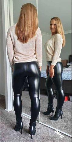 Leather Pants Outfit, Leather Jeans, Leather Dresses, Vinyl Leggings, Leggings Are Not Pants, Vinyl Dress, Botas Sexy, Leder Outfits, Leggings Fashion