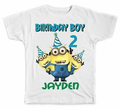 Personalized Minion Style B Birthday Boy T Shirt Party