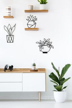 Wall Art Ideas - Glyphs Studio have created a collection of modern wall art that depict a variety of plants, and are made from laser cut metal with a matte black finish. Urban Home Decor, Home Decor Sets, Plant Wall Decor, Wall Art Decor, Room Decor, Contemporary Wall Decor, Modern Wall Art, Metal Walls, Metal Wall Art