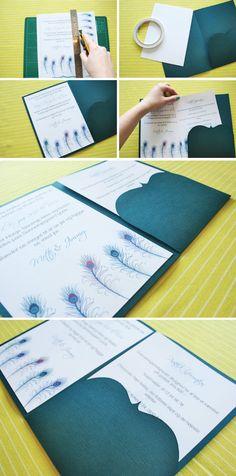 påfugle invitation til bryllup