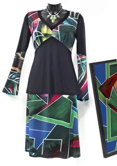 Conjunto de Vas hecha un cuadro by Maite Cobo. Verdes y azules. #moda #falda #basque